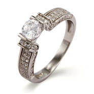 Sparkling Micropave Diamond CZ Brilliant Cut Engagement Ring