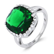 Envious Cushion Cut Sterling Silver Emerald Green Ring
