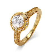 Beautiful Brilliant Cut Heirloom Gold Vermeil CZ Engagement Ring
