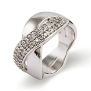 Wide Band Sterling Silver CZ Infinity Ring