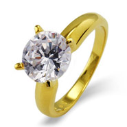 Brilliant Cut 2.75 Carat Solitaire Gold Vermeil CZ Engagement Ring