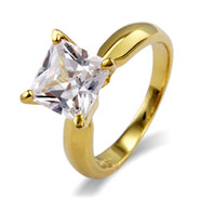 Princess Cut Solitaire CZ Gold Vermeil Engagement Ring