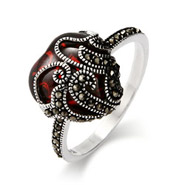 Vintage Style Garnet Glass Heart Sterling Silver Marcasite Ring
