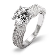 Exquisite 2 Carat Brilliant Cut Diamond CZ Engagement Ring with Pave Band