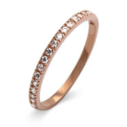 Stackable Reflections Thin Pave CZ Rose Gold Vermeil Stackable Ring