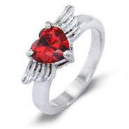 Winged Heart Sterling Silver Custom Birthstone Ring