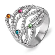 4 Stone Custom Austrian Crystal Dazzling Birthstone Family Ring