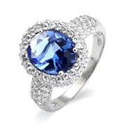 Pave Diamond CZ Encrusted Vintage Oval Cut Sapphire Ring
