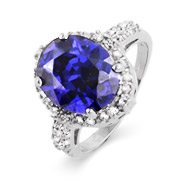 Sterling Silver Oval Crown Set CZ Tanzanite Ring