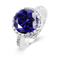 Sterling Silver Brilliant Cut Tanzanite CZ Halo Ring
