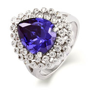 Tiffany Inspired Exquisite Pearcut CZ Tanzanite Cocktail Ring