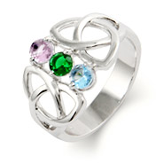 Close to the Heart 3 Stone Celtic Trinity Birthstone Ring