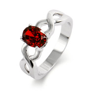 Close to the Heart Oval Birthstone Ring with Infinity Band