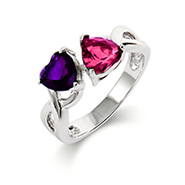 Close to the Heart 2 Stone Infinity Hearts Birthstone Ring