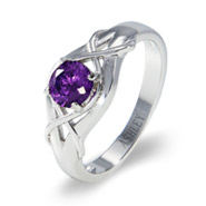 Sterling Silver Woven Design Brilliant Cut CZ Class Ring