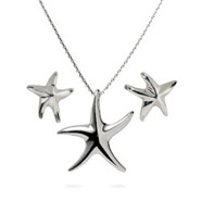 Tiffany Inspired Sterling Silver Starfish Necklace and Earrings Set