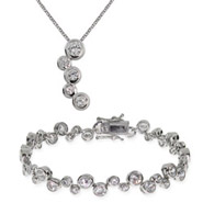 Tiffany Inspired Sterling Silver Bubbles Tennis Bracelet and Necklace Set