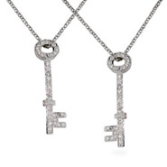 Tiffany Inspired Sterling Silver Diamond CZ Key Pendant Set