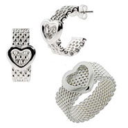 Tiffany Inspired Mesh Heart Ring and Earrings Set