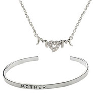 Sterling Silver CZ Mom Necklace and Cuff Bracelet Set