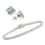 Sterling Silver CZ Tennis Bracelet and Earring Set