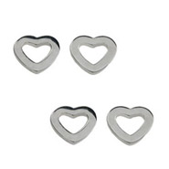 Tiffany Inspired Sterling Silver Heart Link Stud Earrings- 2 Pair Special!