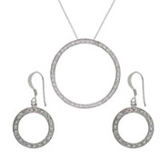 Tiffany Inspired Pave O Dangle Earrings and Necklace Set