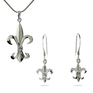 Fleur de Lis Necklace and Earrings Set