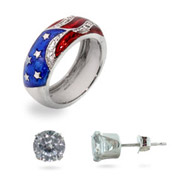 American Flag Ring and Earring Set