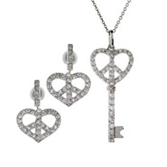 Tiffany Inspired Silver CZ Peaceful Heart Key Necklace and Earring Set