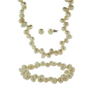 White Cultured Pearl Necklace, Bracelet, and Earrings Set
