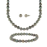 Irridescent Freshwater Pearl Necklace, Bracelet, and Earrings Set