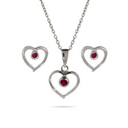 Petite Sterling Silver Sweetheart Ruby CZ Earrings and Pendant Set