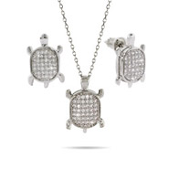 Dazzling Micropave CZ Turtle Necklace and Earring Set