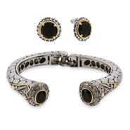 Round Brilliant Cut Onyx CZ Bracelet and Earring Set