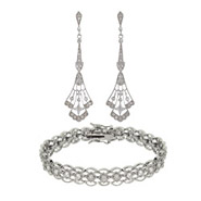 CZ Filigree Design Earrings and Bracelet Set