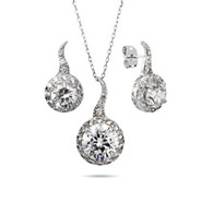 Sterling Silver Brilliant Cut CZ Necklace and Earring Set