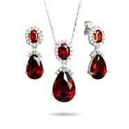 Exquisite Ruby Red Peardrop CZ Necklace and Earring Set