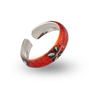 Orange Sparkle Enamel Dragonfly Sterling Silver Toe Ring