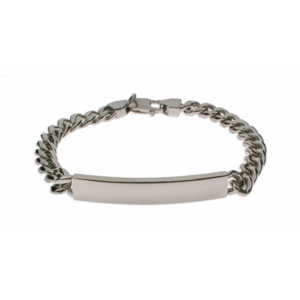 Mens Curb Link Stainless Steel ID Bracelet This Engravable Men's Curb Link Stainless Steel ID Bracelet adds personalized style to any guy's look. This engraved Men's curb link ID bracelet measures 8.5 inches and weighs 28 grams. The men's ID curb link chain bracelet is easy to get on and off with a lobster claw chain, perfect as a gift for any occasion.   Details: • Engravable ID Plate • 8.5 Inch Curb Link Chain • Stainless Steel • Designed for Men