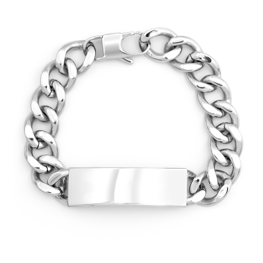 Mens Stainless Steel Curb Link ID Bracelet This Engravable Men's stainless steel curb link ID bracelet measures 8 inches long, with a 1.75 inch plate that also functions at the clasp. With an easy insert tab, this Mens stainless steel ID bracelet is trendy and easy to wear. Add your own touch to this ID bracelet with a name or message engraved to the ID plate front and back. You can choose the font the engraving is completed in, to complete a great gift for any man.   Details: • Men's ID Bracelet • Stainless Steel • Two Engraving Options • 8 Inches Long