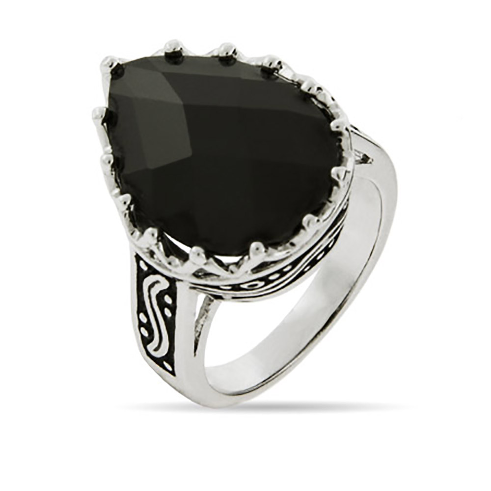 Pear Drop Faceted Onyx Ring with Bali Design - Clearance Final Sale thumbnail