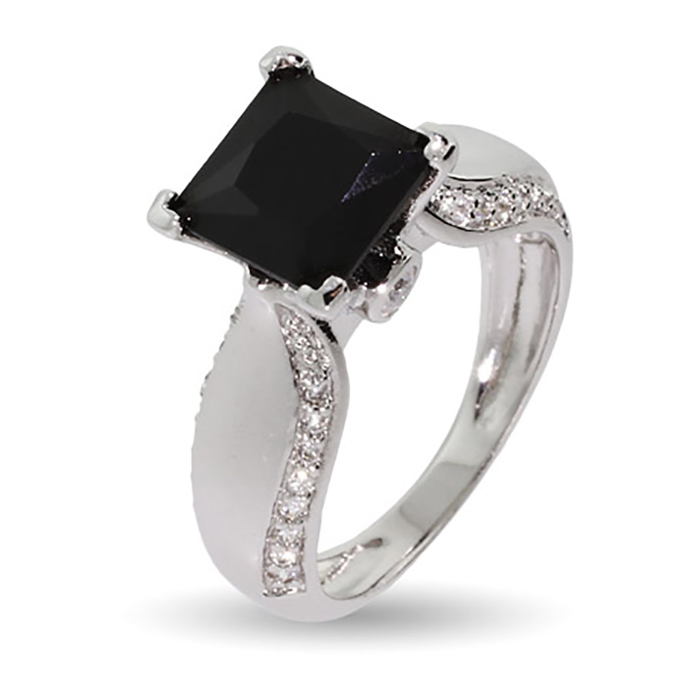 Onyx Cubic Zirconia Ring with CZ Studded Band thumbnail