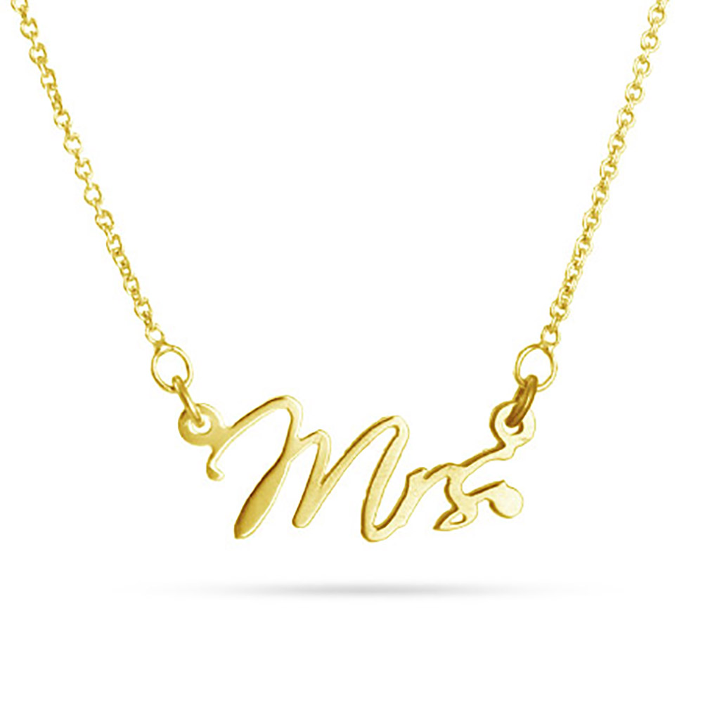 Just Married Mrs Gold Wedding Necklace Our Just Married Mrs. Gold Wedding Necklace is a great piece to wear to your reception to show your new title and from that day forward. This necklace is also available in sterling silver or rose gold , and comes comes on a 16 inch rolo chain adjustable up to 18 inches. These three little letters are approximately 7/8 of an inch at the widest point and 3/8 of an inch tall. Say I do to our new Just Married Mrs. Gold Necklace.  Details: • Mrs. Charm • Gold  • 16 Inch Rolo Chain