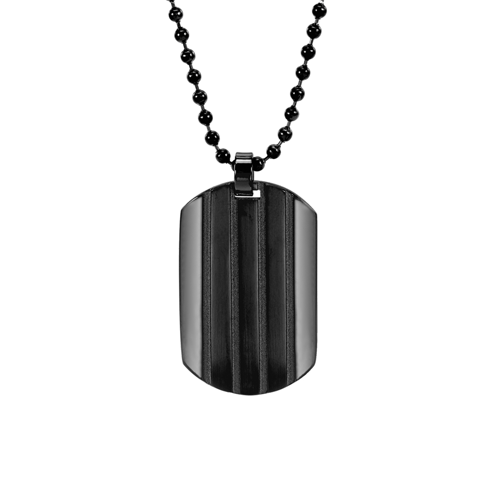Black Ribbed Stainless Steel Dog Tag