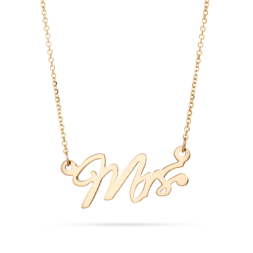 14K Gold Just Married Mrs Wedding Necklace Celebrate your big day with a 14K Gold Just Married Mrs Wedding Necklace. Celebrate going from Miss to Mrs with this beautiful 7/8 by 3/8 inch solid 14K gold necklace. Your stunning hand cut necklace comes on your choice of a sparkling 16 or 18 inch rolo chain. This petite Mrs. charm necklace makes a beautiful statement and pairs perfectly with any of your other 14K solid gold styles.   Details: • Mrs. Charm • 14k Gold • 16 or 18 Inch Gold Chain