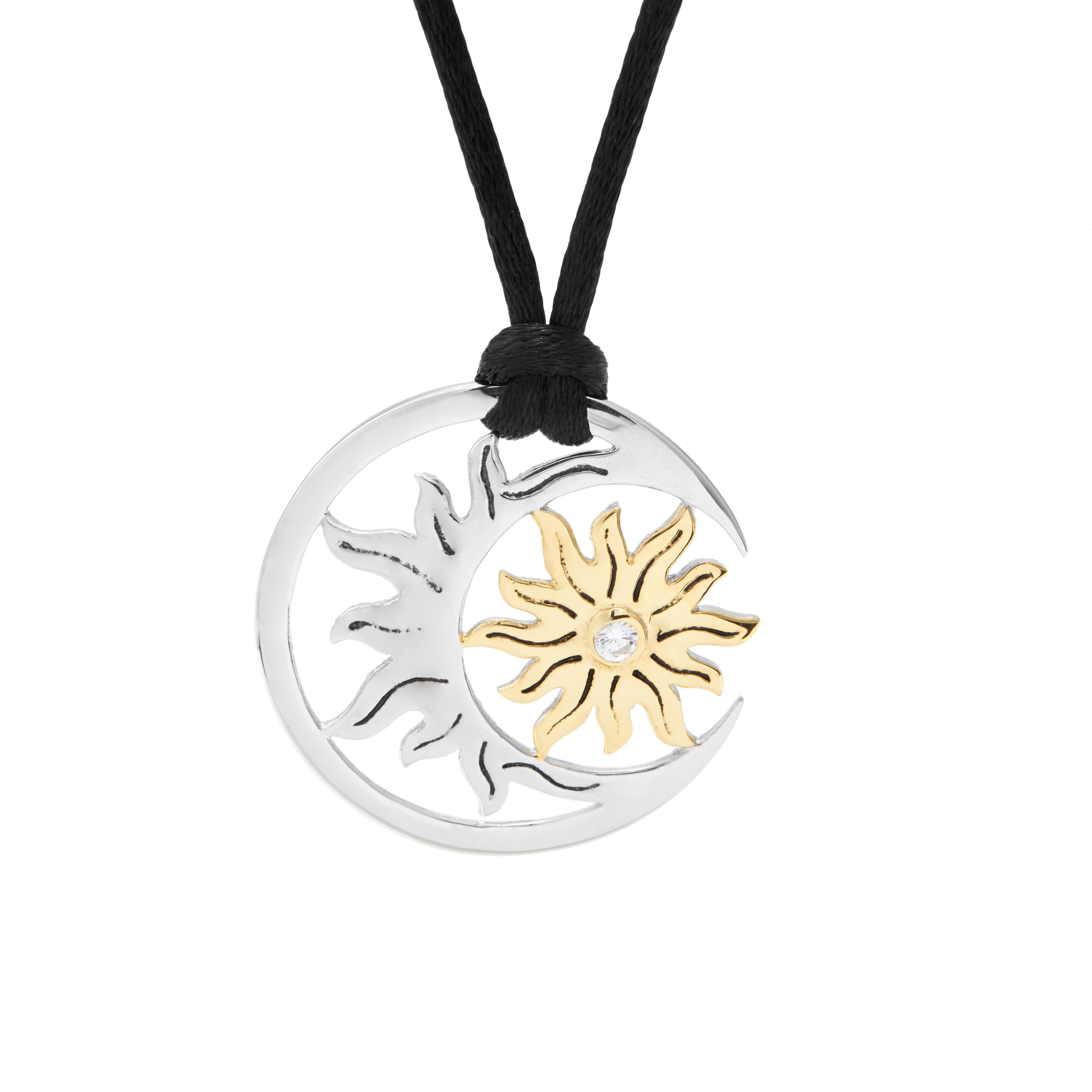 sterling silver golden sun and moon necklace ebay