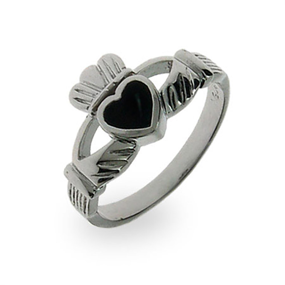 Sterling Silver Black Onyx Claddagh Ring thumbnail