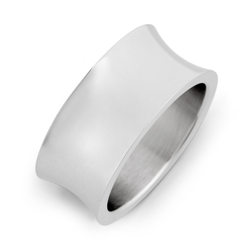 Concave Style Stainless Steel Wedding Band Simple and beautiful describes this concave style stainless steel wedding band.  This ring is composed of nothing but smooth stainless steel.  This stainless steel concave ring measures 3/8 inch wide and can be worn by both men and women. Although this stainless steel wedding band is simple in style, you can add your own personal touch by having the inside of this ring engraved.  Details: • Modern Concave Design • Quality Stainless Steel • For Men & Women • Ring Sizes 5 to 12 Available • Engravable on the Inside