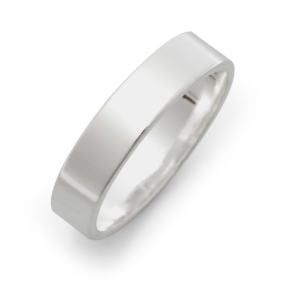 5mm Sterling Silver Flat Wedding Band This 5mm Sterling Silver Flat Wedding Band is a beautiful modern version of the traditional ring. The time honored design has been given chic flat lines to give it an edgy, contemporary look. The band is made of Sterling Silver and can be engraved on the outside and the inside of the band, in a font that you choose.   Details: • 5mm Wide • Flat Designed Band • Two Engraving Options